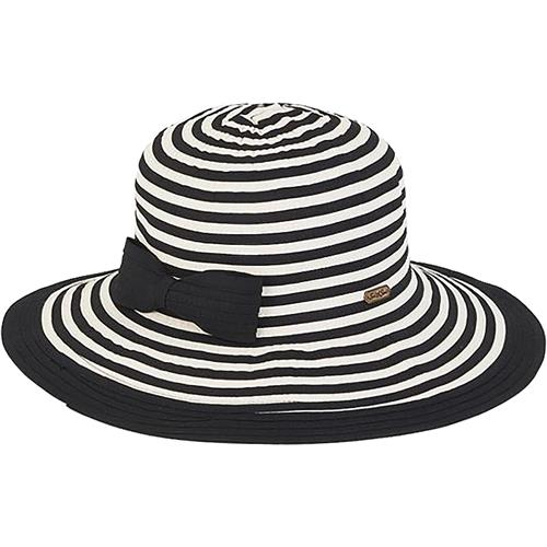 This adorable hat has a 4 inch brim and a bow! We carry it in three  different colors to go with all your bathing suits and beach outfits   Red White stripe 2da8fccb934